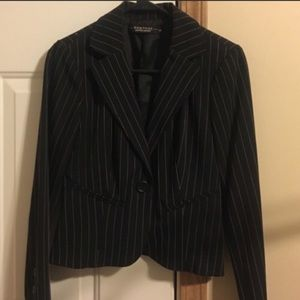 Black Blazer with Light Pink Pinstripes